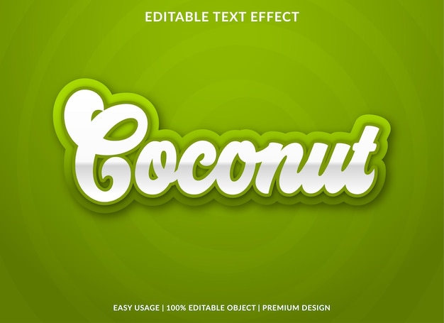 Coconut text effect template with bold style use for food brand and logo