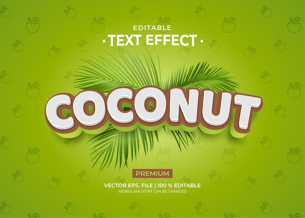 코코넛 텍스트 효과 템플릿