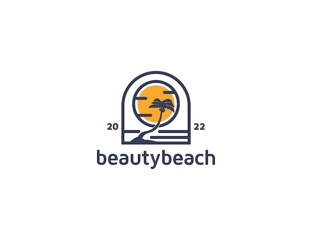 Остров кокосовых пальм с логотипом солнца