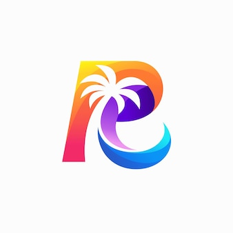 Coconut tree logo with letter r concept