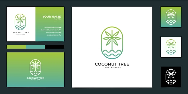 Coconut tree nature logo design and business card