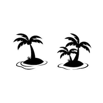 작은 해변 섬 실루엣 그림 세트에 코코넛 나무