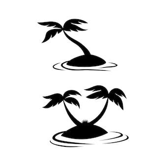 작은 섬 해변 그림 세트에 코코넛 나무 실루엣