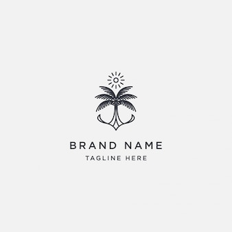 Coconut tree sun logo design template