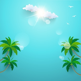 The coconut trees on the beach. summer holiday. template