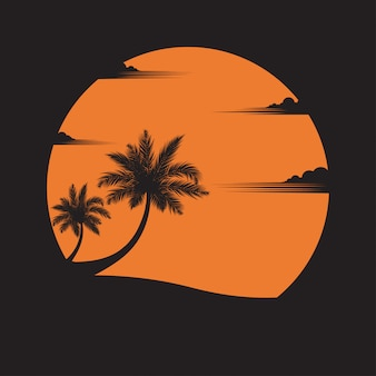 夕日を背景にビーチにココナッツの木