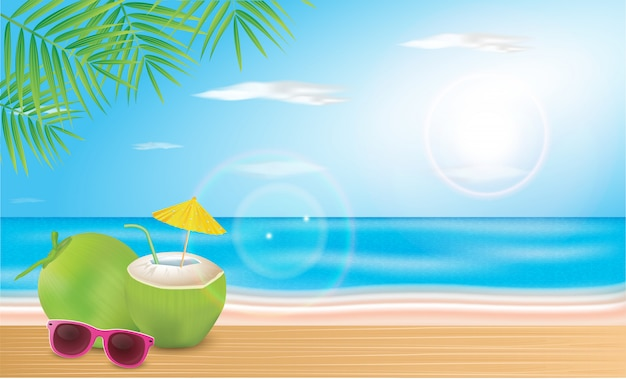 Coconut water is laid on the beach planks. vector hello summer holiday illustration.
