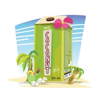 Пакет с кокосовой водой на пляже. летняя концепция