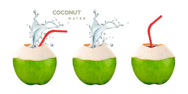 Кокосовая вода с брызгами напитка и соломинкой на белом фоне