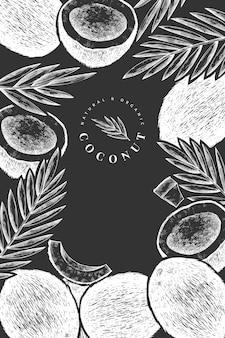 야자수가 있는 코코넛은 디자인 서식 파일을 남깁니다. 분필 보드에 손으로 그린 음식 그림입니다. 새겨진 스타일의 이국적인 식물. 프리미엄 벡터