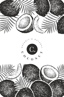 ヤシの葉のデザインテンプレートとココナッツ。手描きのベクトル食品イラスト。刻まれたスタイルのエキゾチックな植物。レトロな植物の熱帯の背景。