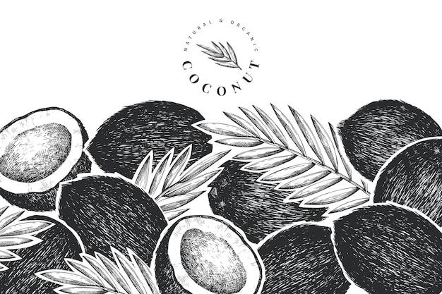 Кокос с пальмовыми листьями дизайн шаблона.