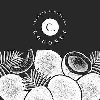 Кокос с дизайном пальмовых листьев