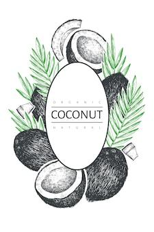 야자수와 코코넛 잎 레이블 템플릿.