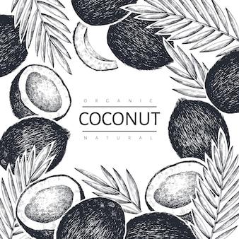 Кокос с шаблоном пальмовых листьев. рисованной иллюстрации еды. гравированный стиль экзотического растения. урожай ботанический тропический фон.