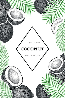 야자수와 코코넛 잎 템플릿. 손으로 그린 음식 그림. 새겨진 스타일의 이국적인 식물. 빈티지 식물 열 대 배경입니다.