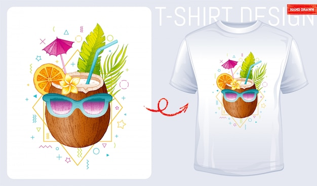 Coconut with sunglasses t-shirt print design. woman fashion illustration in sketch doodle style.