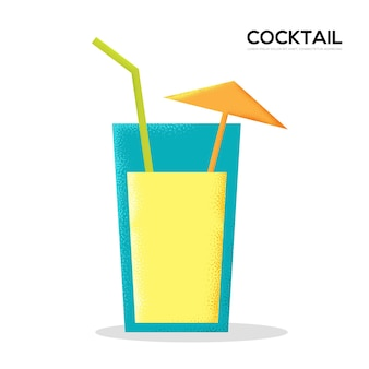 Coctail drink on white background vector illustration