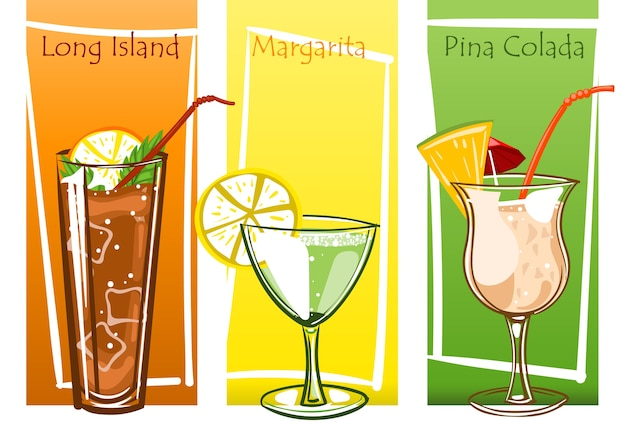 Coctails set, free hand vector illustration drawn.