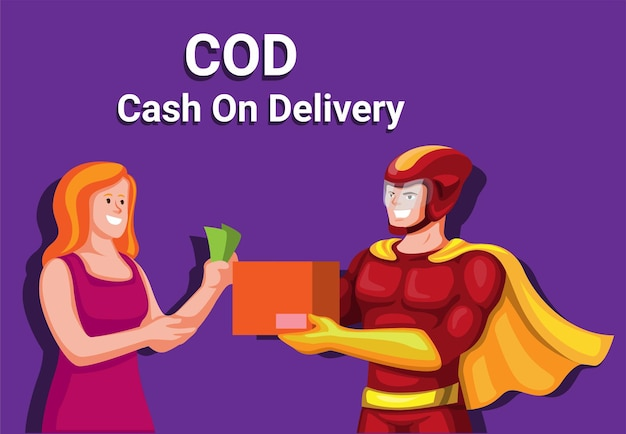 代金引換オンラインショップ方法の支払いと衣装と宅配便のイラストベクトル