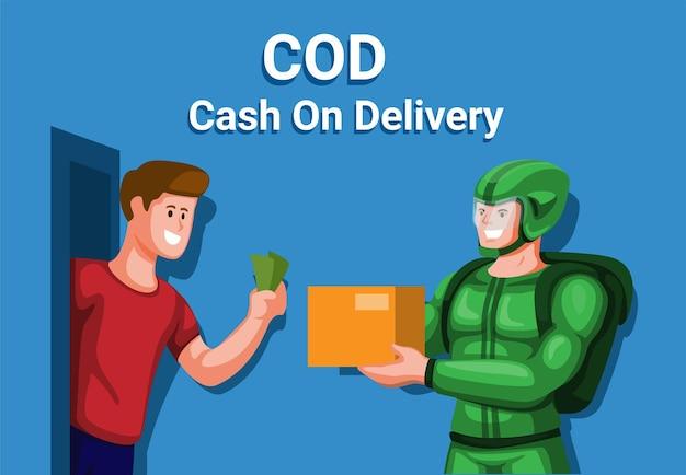 宅配便オンラインショッピング支払い漫画イラストベクトルと代金引換