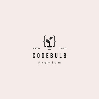 Code bulb leaf sprout logo hipster retro vintage icon illustration