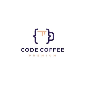 Code coffee cafe mug glass logo illustration