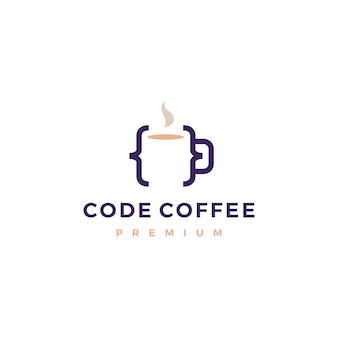 Code coffee cafe mug glass logo illustration
