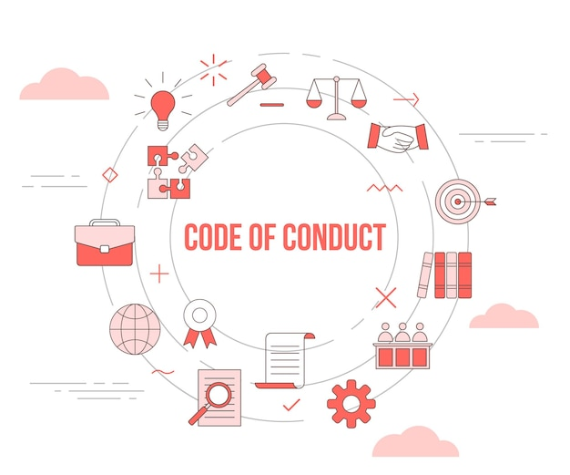 Code of conduct concept with icon set template banner