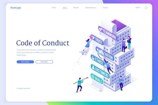 Code of conduct isometric landing page company business rules concept with tiny office people at tow...