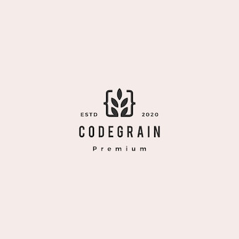 Code grain leaf leaves logo hipster retro vintage for web front back end developers