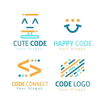 Code logo collection flat design