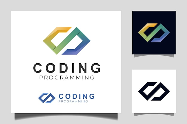 Code logo template gradient design icon vector for coding and programming logo design