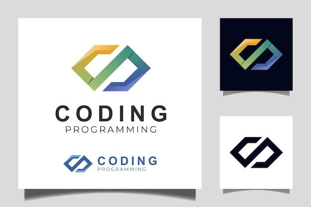 코딩 및 프로그래밍 로고 디자인을 위한 코드 로고 템플릿 그라데이션 디자인 아이콘 벡터