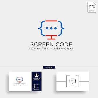 Code programming logo template vector illustration