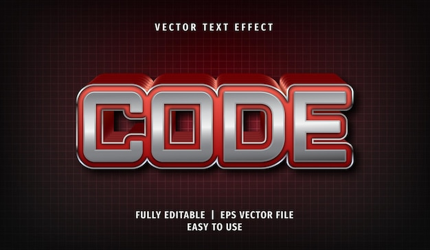 Code text effect, editable text style