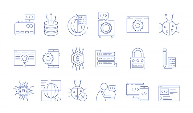 Coder icons. programmer computer software expert input ends execute cluster bugs fix testing systems java code vector symbols