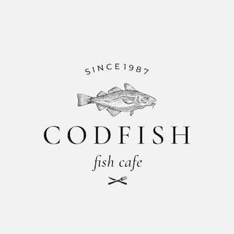 Codfish abstract  sign, symbol or logo template.
