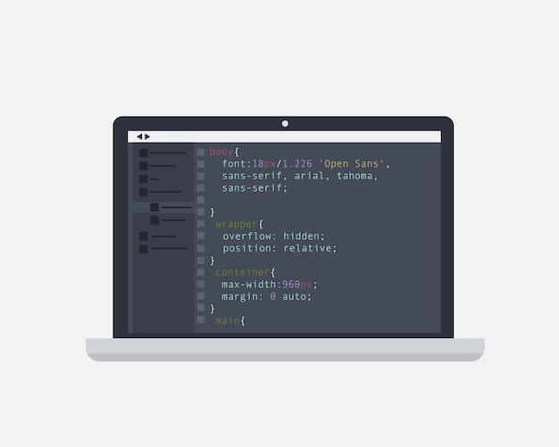 코딩 및 프로그래밍 개념. 화면 랩톱의 코드