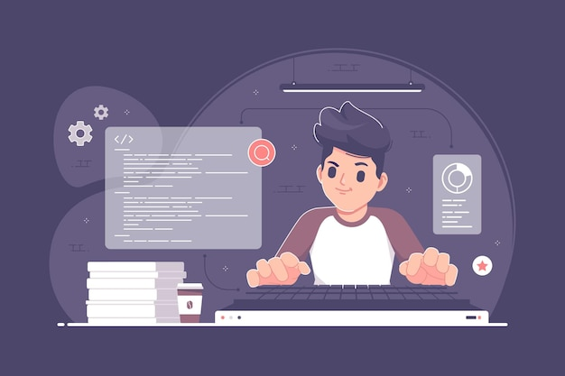Иллюстрация концепции кодирования и программирования