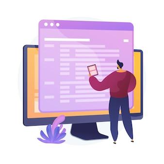 コーディングとウェブサイトの開発。技術サポート。プログラミング工学。コーダー、ウェブ開発者、コンピューターソフトウェア。プログラマー男性フラットキャラクター。