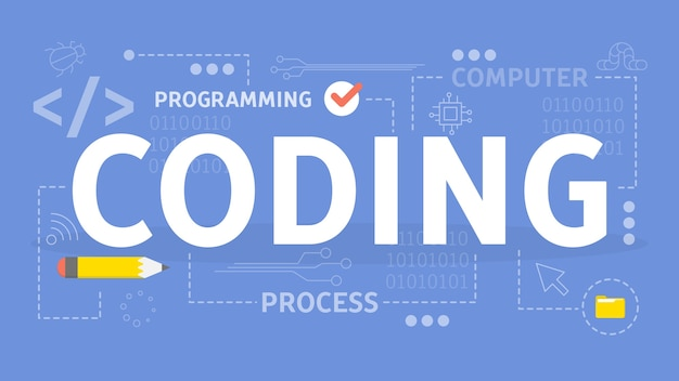 コーディングの概念。プログラミングとコンピューターのアイデア