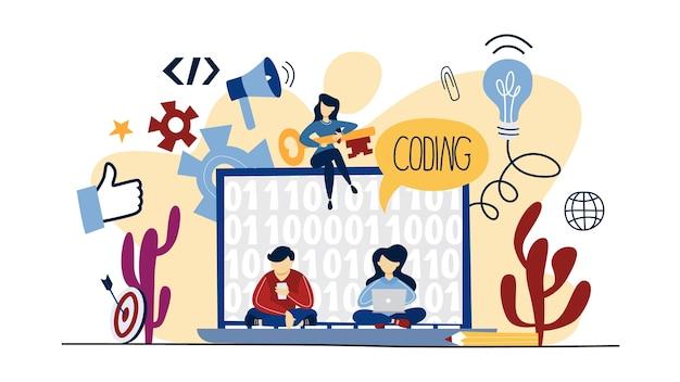 コーディングの概念。プログラミングとウェブ。プログラマーとして働いています。現代のテクノロジーのアイデア。図