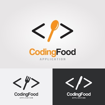 Coding food logo design template