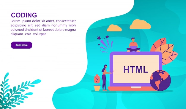 Coding illustration concept with character. landing page template