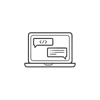Coding on a laptop hand drawn outline doodle icon. programming, web development, software concept