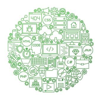 コーディングラインアイコンサークルデザイン。プログラミングスキルオブジェクトのベクトルイラスト。