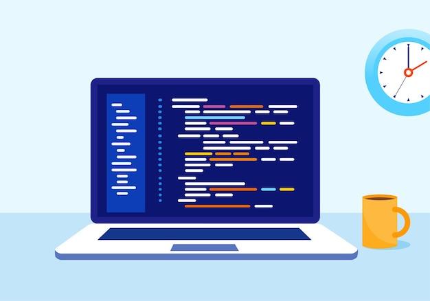 コーディングプログラマー開発者フラットベクトルイラストテンプレート