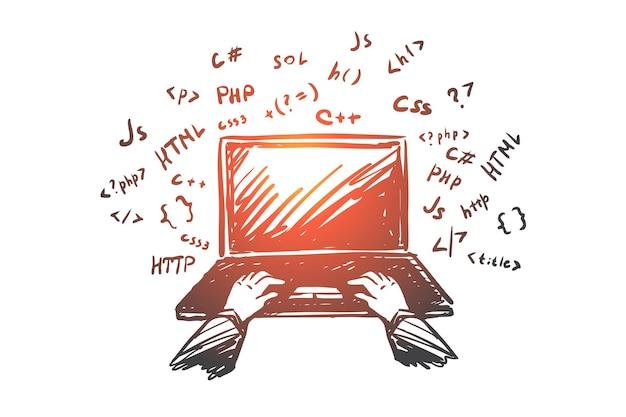 コーディング、プログラマー、ラップトップ、インターネット、仕事のコンセプト。コードコンセプトスケッチとラップトップ上のプログラマーの手描きの手。