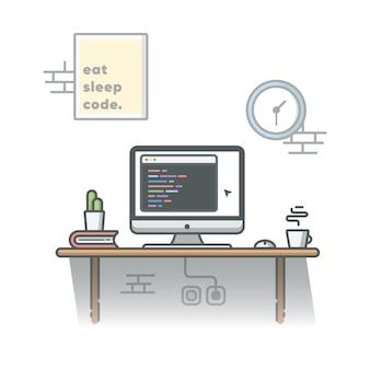 サボテン、コーヒー、本のイラストを使用したプログラマのワークスペースのコーディング。白の孤立した背景